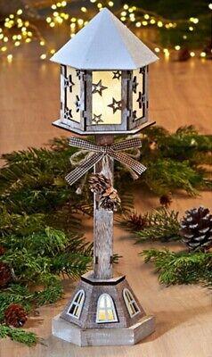 """Stand Laterne """"Natur"""" aus Holz 36 cm hoch, mit Batterie, Deko Steh Leuchte Lampe"""