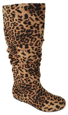 Soda Women Flat Slouchy Knee High Boots Slip on Faux Suede Cheetah Leopard ZULUU
