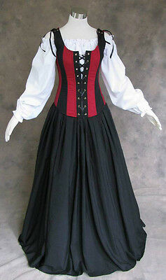 Renaissance Bodice Skirt and Chemise Medieval or Pirate Gown Dress Costume L - Medieval And Renaissance Costumes
