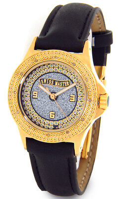 SWISS MASTER WATCH SUPER TECHNO LADIES DIAMOND JOJO GOLD CASE FACE LEATHER BAND - Master Ladies Diamond Watch