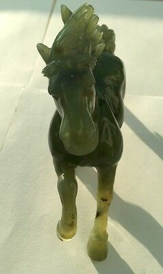 GORGEOUS CARVED ANTIQUE RUNNING HORSE NATURAL GREEN JADE ASIAN SCULPTURE ANIMALS