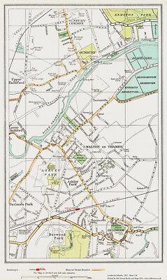 Walton on Thames Hersham Sunbury Old Map London 1932 #154 Repro