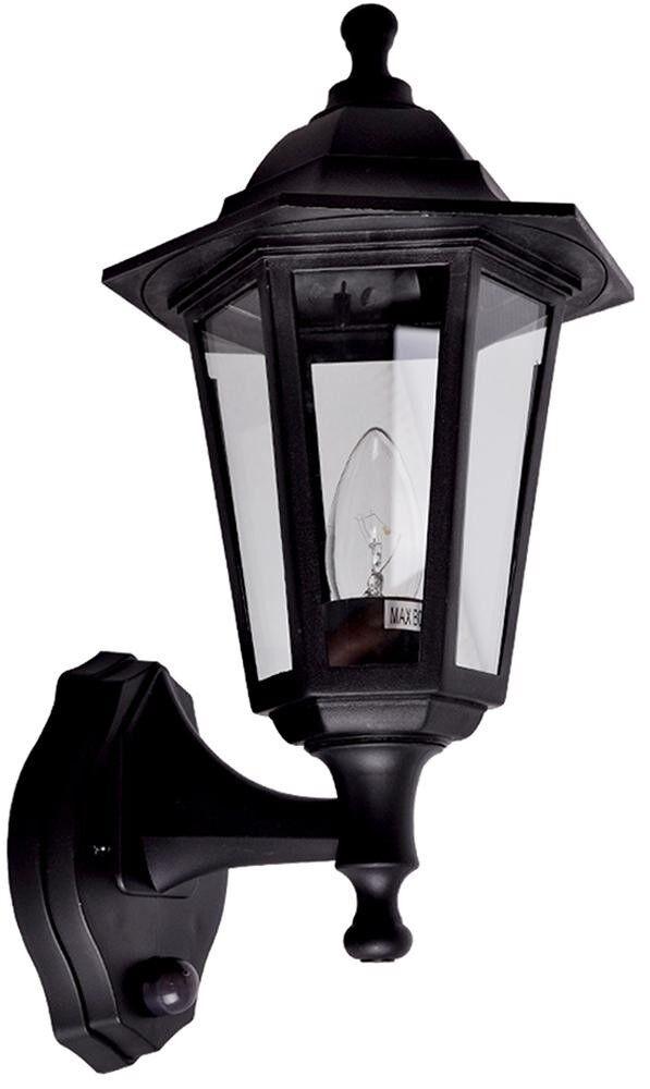 Minisun Mayfair Outdoor Wall Lantern Black Dusk to Dawn mode