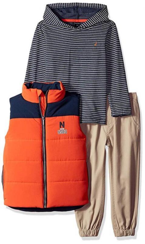 Nautica Boys Orange Vest 3pc Pant Set Size 2T 3T 4T 4 5 6 7