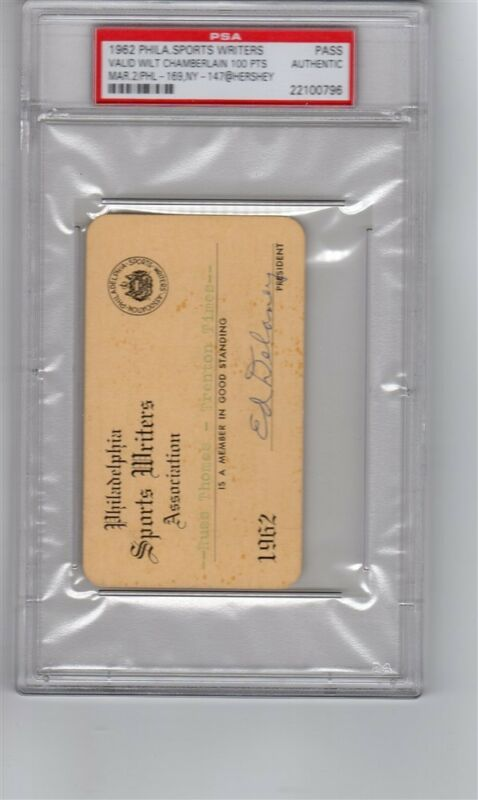 1962 Wilt Chamberlain Ticket Pass Scores 100 Points Gm/record Psa Philadelphia