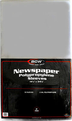 "(100) BCW-SSLV-NP-14X24 Newspaper Bags Covers Sleeves 14 1/8"" x 24 1/8"" Protect"