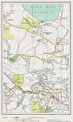Weybridge, Shepperton area Map London 1932 #153