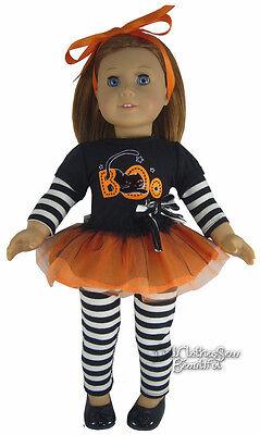 "Black Cat Boo! Tutu Dress + Leggings Outfit for 18"" American Girl Doll Halloween"