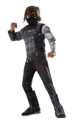 Deluxe Captain America Costume (Captain America Deluxe Winter Soldier Child Costume, Black,)