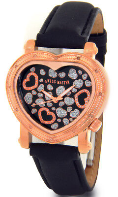 SWISS MASTER WATCH SUPER TECHNO LADIES DIAMOND JOJO ROSE GOLD HEART SHAPED - Master Ladies Diamond Watch