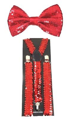 New Red Glitter Suspenders Sequin Shiny Bow Tie Set Classic Dance Tuxedo Combo
