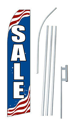 Patriotic Sale Advertising Banner Flag Complete Tall Sign Kit 2.5 Wide