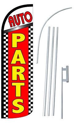 Auto Parts Flutter Feather Flag Sign Banner 30 Wider Super Swooper