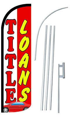 Title Loans Flag Kit 3  Wide Windless Swooper Feather Advertising Sign