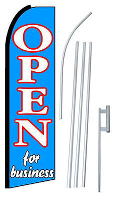 Open For Business Swooper Feather Banner Flag Bundle Kit