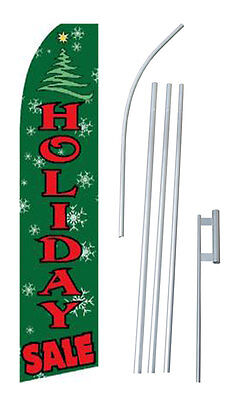 Holiday Sale Banner Flag Advertising Complete Tall Sign Kit 2.5 Wide Green