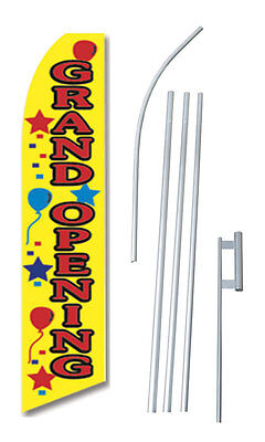 Grand Opening Banner Sign Flag Balloons Kit Swooper Feather Complete 15