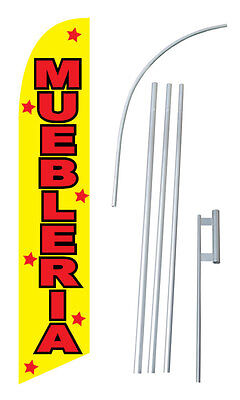 Muebleria Furniture W Tall Advertising Banner Flag Complete Sign Kit 2.5 Feet Wi