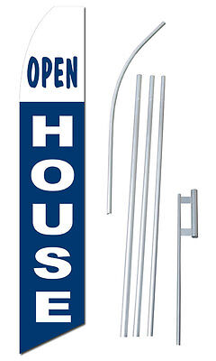 Open House Tall Advertising Banner Flag Complete Sign Kit 2.5 Feet Wide