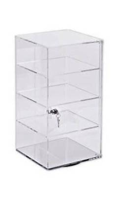 Countertop Display Case Cabinet Spins Acrylic Baked Goods Jewelry Locks 4 Shelf