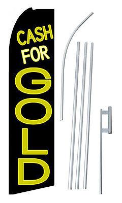 Complete 15 Cash For Gold Kit Swooper Feather Flutter Banner Sign Flag
