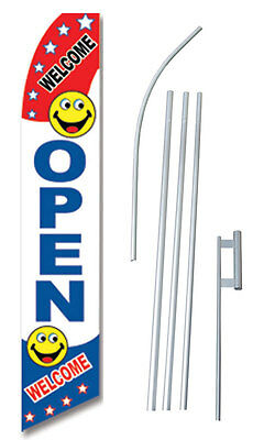 Open Welcome Smiley Face Swooper Flag Bundle