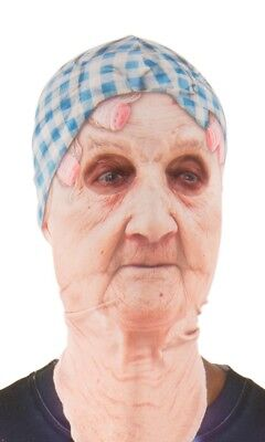 Faux Real Old Lady Sublimated Photorealistic Halloween Costume Mask F134114