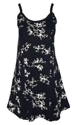 Schwarzes Damen-kleid-shirt (SHEEGO Damen Kleid Shirtkleid schwarz Muster weiß Gr. 44 46 48 50 52 NEU - K130)