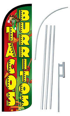 Tacos Burritos Flag Kit 3 Wide Windless Swooper Feather Advertising Sign