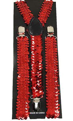"""Unisex Clip-on Braces Elastic Suspender """"Red Sequin"""" Y-Back Suspender"""