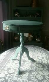 Beautiful Little Drum Table Chalk Painted In Duck Egg Waxed 3 Drawers Glass Crystal Knobs