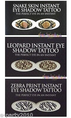 ANIMAL PRINT EYESHADOW TATTOO ~ Snakeskin Leopard Zebra Costume Party Supplies