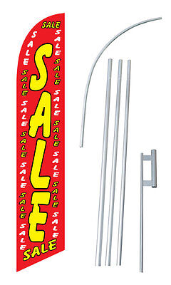 Sale Red W Tall Advertising Banner Flag Complete Sign Kit 2.5 Feet Wide