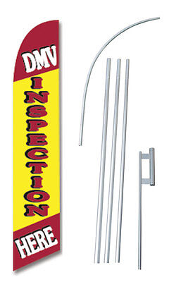 DMV Inspection Here Banner Flag Sign Windless Complete Kit Tall Business 2.5