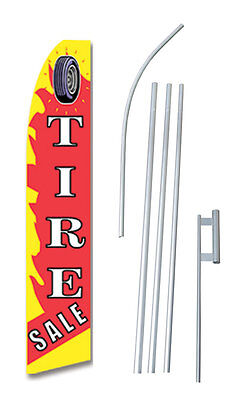 Tire Sale Flame Tall Advertising Banner Flag Complete Sign Kit 2.5 Feet Wide