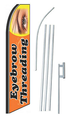 Eyebrow Threading Flag Kit Swooper Feather Flutter Banner Sign Complete 15