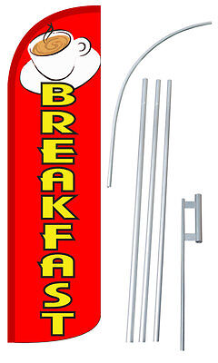 Breakfast Flag Kit 3 Wide Windless Swooper Feather Advertising Sign