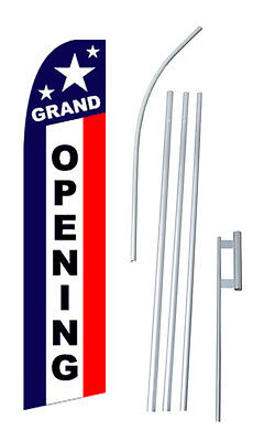 Grand Opening Tall Advertising Banner Flag Complete Sign Kit 2.5 Feet Wide