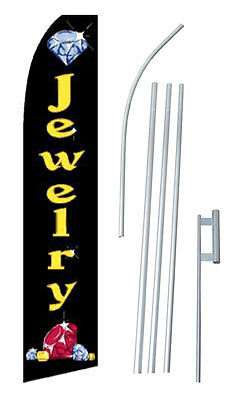 Jewelry Advertising Banner Flag Complete Tall Sign Kit 2.5 Wide