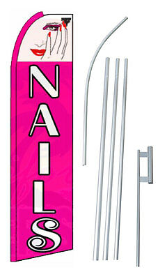 Complete 15 Nails Pink Kit Swooper Feather Flutter Banner Sign Flag