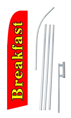Breakfast Banner Sign Flag Swooper Bow Feather 15 Tall Complete Starter Kit