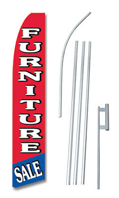 Furniture Sale Red Tall Advertising Banner Flag Complete Sign Kit 2.5 Feet Wide