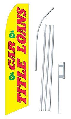 Car Title Loans Flag Kit Swooper Feather Flutter Banner Sign Flag
