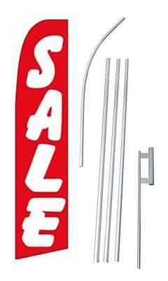 12 Foot Sale Red Swooper Flag W 15 Pole Spike Starter Kit