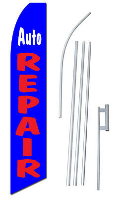 Complete 15 Auto Repair Kit Swooper Feather Flutter Banner Sign Flag