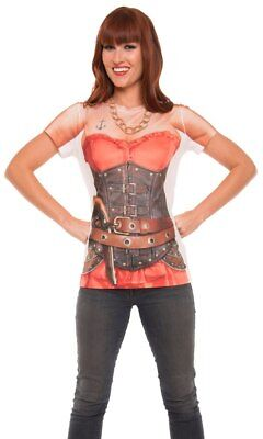 Ladies Faux Real Pirate Caribbean Wench Corset Anchor Skull Tattoo Red Tee - Real Pirate Costumes