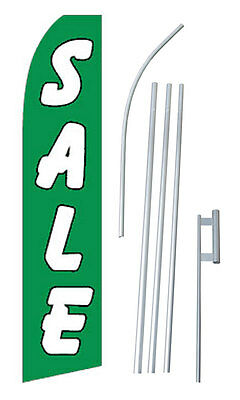 Sale Advertising Banner Flag Complete Tall Sign Kit 2.5 Wide Green