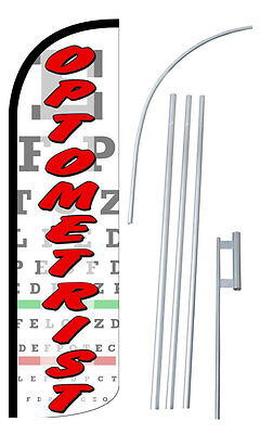 Optometrist Flag Kit 3 Wide Windless Swooper Feather Advertising Sign