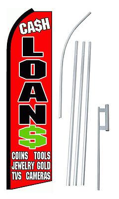 Complete 15 Cash Loans Kit Swooper Feather Flutter Banner Sign Flag