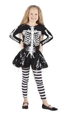 Skeleton Skelett Kostüm für Mädchen Horror Geister Dämon Kinderkostüm (Dämon Kostüm Mädchen)